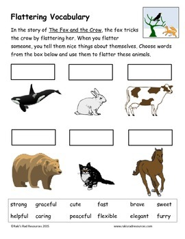 The Fox and the Crow- Fable Reading Response Packet