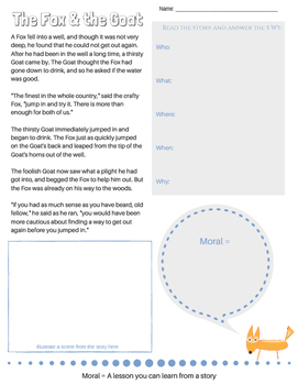 The Fox and the Goat {2nd grade lit unit, CCSS Literacy guidelines met}