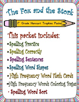 The Fox and the Stork:  First Grade Spelling and Sight Words Packet