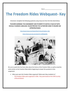 The Freedom Rides- Webquest and Video Analysis with Key