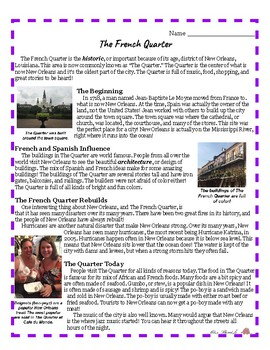 The French Quarter- Reading Comprehension