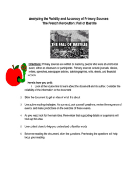 The French Revolution: Fall of Bastille- Analyzing Primary Sources Worksheet