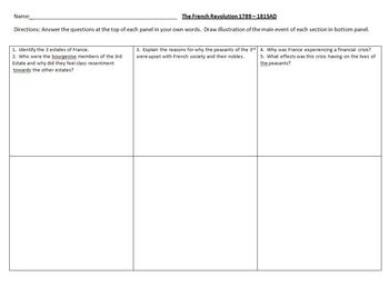 The French Revolution Lesson Plan: Origins and Causes Comic Strip Activity