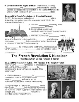 W23.0 - French Revolution & Napoleon - Guided Notes (Blank & Filled-In)