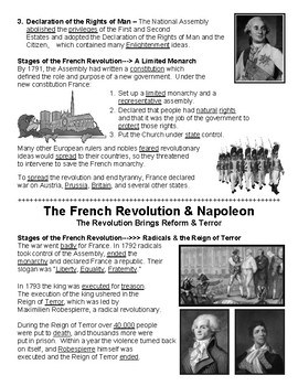 W23.0 - French Revolution & Napoleon - Guided Notes (Filled-In Only)