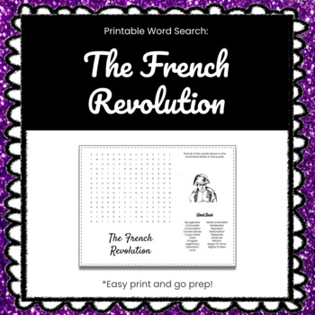 The French Revolution Printable Word Search Puzzle