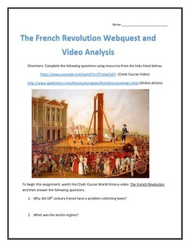 The French Revolution- Webquest and Video Analysis with Key