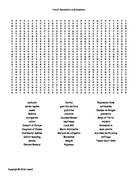 The French Revolution and Napoleon Word Search for World History Students