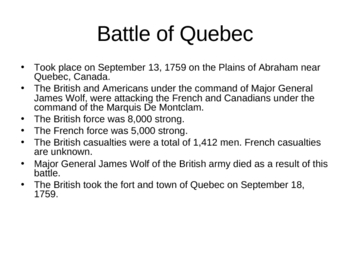 The French and Indian War PPT Presentation