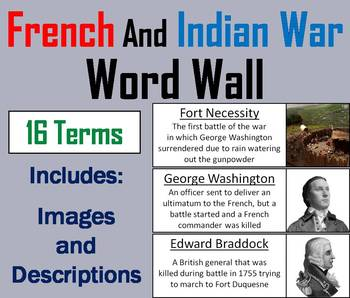The French and Indian War Word Wall Cards (Seven Year's War)