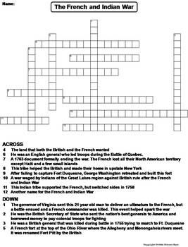 The French and Indian War Worksheet/ Crossword Puzzle