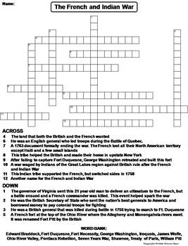The French and Indian War Worksheet/ Crossword Puzzle (Seven Years War)