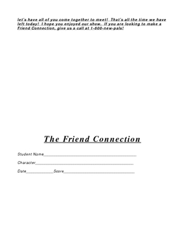 The Friend Connection, a Game Show Teaching Characterization