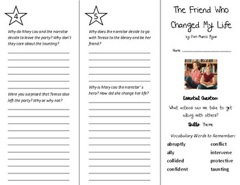 The Friend Who Changed My Life Trifold - Wonders 5th Grade Unit 6 Week 2