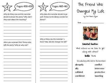 The Friend Who Changed My Life Trifold - Wonders 5th Grade
