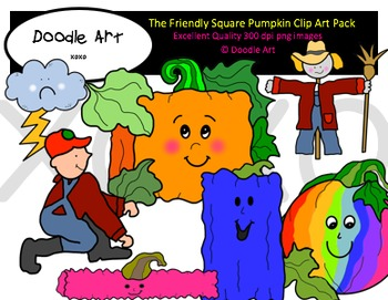The Friendly Square Pumpkin Clipart Pack