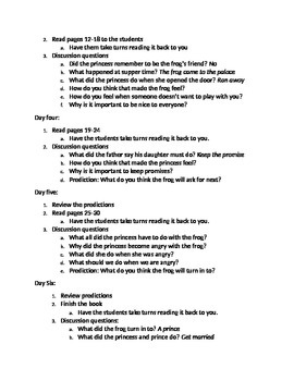The Frog Prince Guided Reading plan
