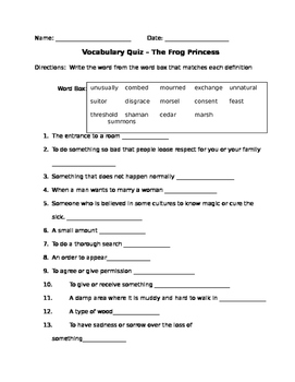 The Frog Princess Vocab Quiz
