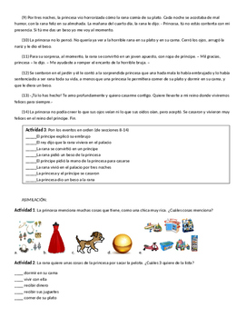 The Frog Principe story and activities in Spanish
