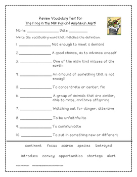 The Frog in the Pail and Amphibian Alert! 4th Grade Journeys Unit 6, Lesson 27