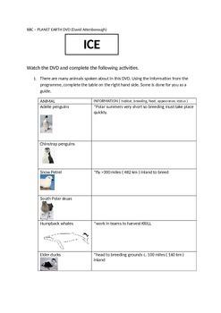 The Frozen World DVD worksheet
