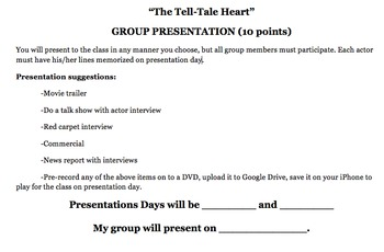 """The Tell Tale Heart"" Group Presentation - FUN!"