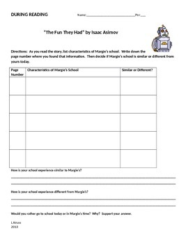 The Fun They Had - Short Story Unit - Before, During, and After Reading