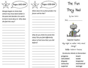 The Fun They Had Trifold - Journeys 4th Grade Unit 5 Week