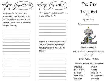 The Fun They Had Trifold - Journeys 4th Grade Unit 5 Week 5 (2014, 2017)