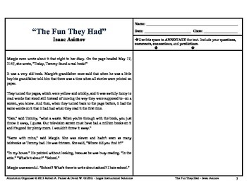 """The Fun They Had"" by Isaac Asimov: Annotation Organizer"