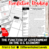 The Function of Government in the U.S. Economy Reading Act