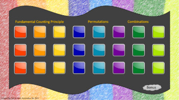 The Fundamental Counting Principle, Permutations, and Combinations Review Game