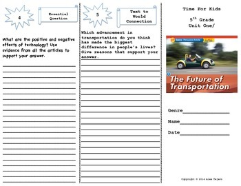 """The Future of Transportation"" Trifold Activity Reading Wonders 5th Grade"
