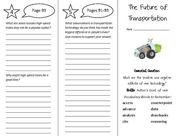 The Future of Transportation Trifold - Wonders 5th Grade Unit 1 Week 5