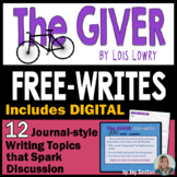"The GIVER - Free-Writes Journal-style Writing Prompts with ""Free-Writes Log"""