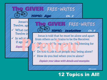 """The GIVER - Free-Writes Journal-style Writing Prompts with """"Free-Writes Log"""""""