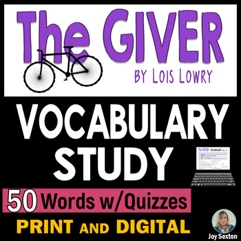 The GIVER - Vocabulary Study with Quizzes - 50 Words