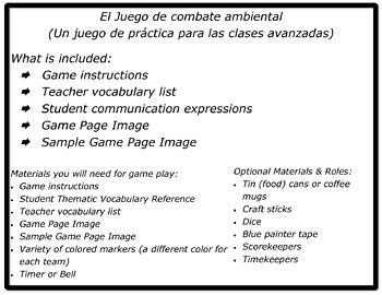 The Game of Environmental Combat / El juego de combate ambiental