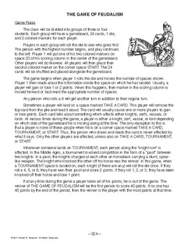 The Game of Feudalism, WORLD HISTORY LESSON 32 of 150, Activity for Entire Class