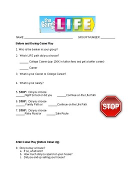 The Game of Life Guided Worksheet