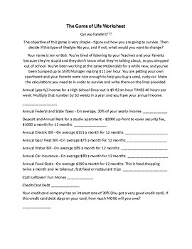 The Game of Life Worksheet