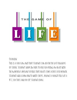 The Game of Life -Math Unit on Real Life Application Financial Literacy Part 1