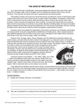 The Game of Mercantilism, AMERICAN HISTORY LESSON 9 of 100, Fun Activity+Quiz