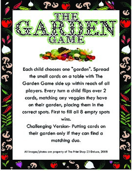 The Garden Game for Preschoolers