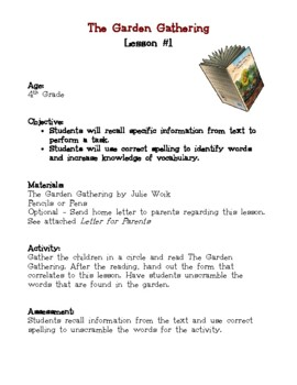 The Garden Gathering Classic Classroom Lesson Plans: 4th GRADE EDITION