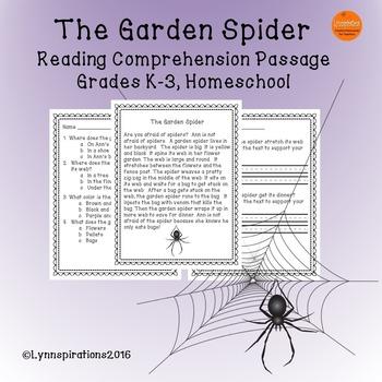 The Garden Spider-  Reading Comprehension Passage for Grad