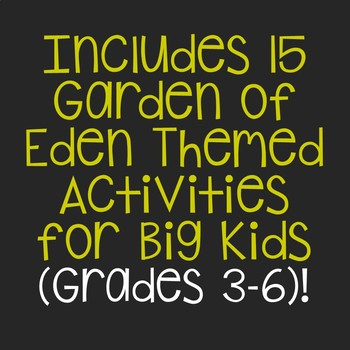 The Garden of Eden Notebook Journal Project and Activities - Bible Story Lesson
