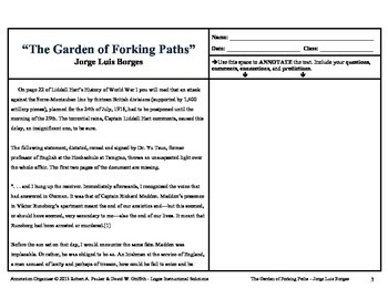 """""""Garden of Forking Paths"""" by Jorge Luis Borges: Annotation Organizer"""
