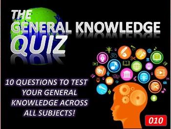The General Knowledge Pub Quiz #10 Tutor Cross Curricular Settler End of Term