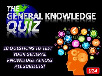 The General Knowledge Pub Quiz #14 Tutor Cross Curricular Settler End of Term